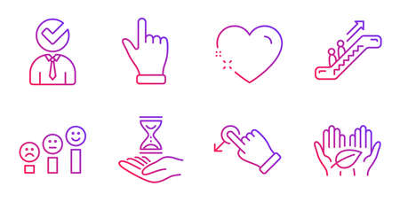 Drag drop, Heart and Escalator line icons set. Vacancy, Click hand and Time hourglass signs. Customer satisfaction, Fair trade symbols. Move, Love. People set. Gradient drag drop icon. Vector 일러스트