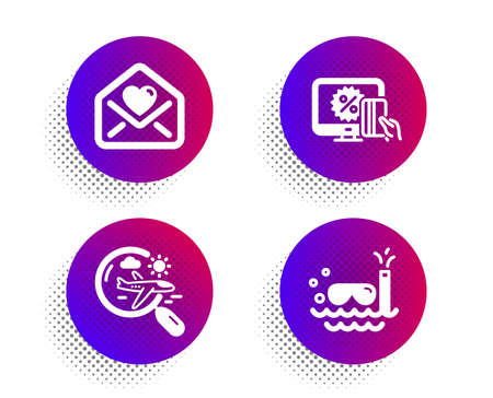 Love letter, Search flight and Online shopping icons simple set. Halftone dots button. Scuba diving sign. Heart, Airplane trip, Black friday. Trip swimming. Holidays set. Vector