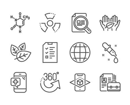Set of Science icons, such as Vacancy, Chemistry pipette, Interview, Chemical formula, 360 degrees, Medical phone, Check article, Chemical hazard, Fair trade, Organic tested, Globe. Vector