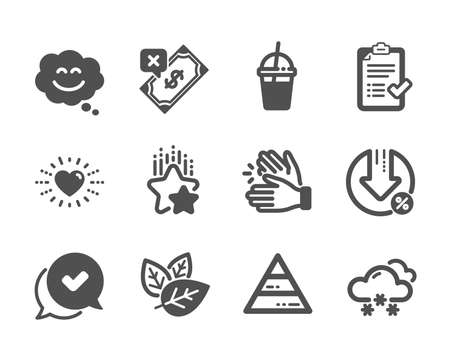 Set of Business icons, such as Snow weather, Ranking stars, Coffee cocktail, Heart, Smile chat, Pyramid chart, Organic tested, Loan percent, Rejected payment, Approved checklist, Approved. Vector