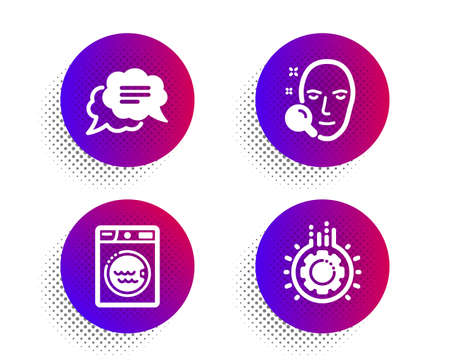 Face search, Text message and Laundry icons simple set. Halftone dots button. Gear sign. Find user, Chat bubble, Washing machine. Work process. Technology set. Classic flat face search icon. Vector