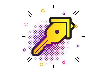 Key from the house sign icon. Halftone dots pattern. Unlock tool symbol. Classic flat key icon. Vector Illustration
