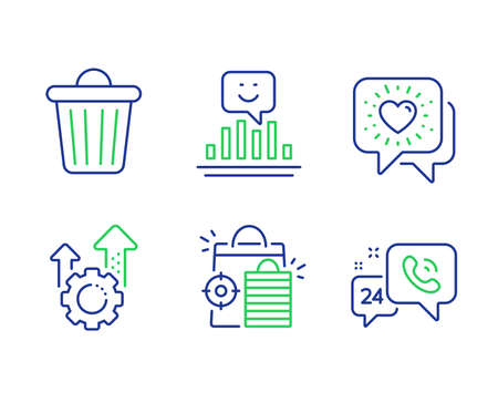 Friends chat, Seo shopping and Trash bin line icons set. Seo gear, Smile and 24h service signs. Friendship, Analytics, Garbage. Cogwheel. Business set. Line friends chat outline icons. Vector
