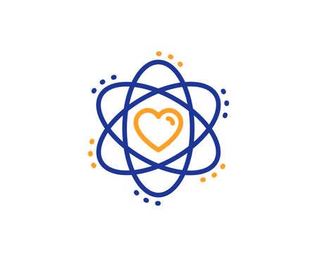 Signe d'énergie. Atome avec icône de ligne de coeur. Symbole de l'élément chimique. Concept de contour coloré. Icône d'atome de fine ligne bleue et orange. Vecteur Vecteurs