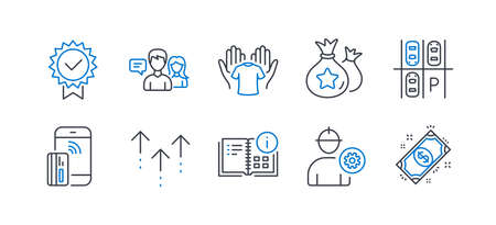 Set of Business icons, such as Parking place, Loyalty points, Contactless payment, People talking, Certificate, Hold t-shirt, Swipe up, Instruction info, Engineer, Payment line icons. Vector