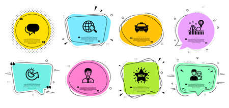 Web search, New star and Teamwork line icons set. Chat bubbles with quotes. Businessman person, Roller coaster and Taxi signs. Talk bubble, Share idea symbols. Find internet, Shopping. Vector