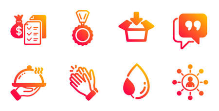 Restaurant food, Clapping hands and Medal line icons set. Leaf dew, Quote bubble and Accounting wealth signs. Get box, Networking symbols. Room service, Clap. Business set. Vector Banque d'images - 131047836