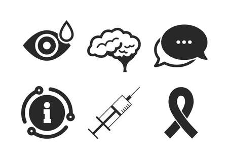Syringe, eye with drop, brain and ribbon signs. Chat, info sign. Medicine icons. Breast cancer awareness symbol. Human smart mind. Classic style speech bubble icon. Vector