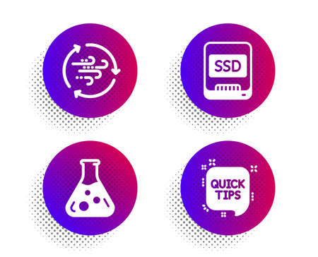 Ssd, Chemistry lab and Wind energy icons simple set. Halftone dots button. Quick tips sign. Memory disk, Laboratory, Breeze power. Helpful tricks. Science set. Classic flat ssd icon. Vector  イラスト・ベクター素材