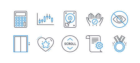 Set of Business icons, such as Lift, Calculator, Medical tablet, Not looking, Hdd, Technical documentation, Candlestick graph, Ranking star, Scroll down, Honor line icons. Line lift icon. Vector Zdjęcie Seryjne - 131047882