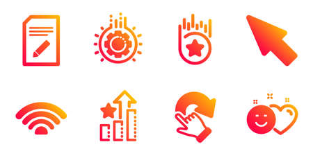 Mouse cursor, Ranking stars and Edit document line icons set. Wifi, Gear and Loyalty star signs. Rotation gesture, Smile symbols. Click arrow, Winner results. Technology set. Vector