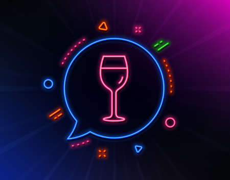 Wine glass line icon. Neon laser lights. Bordeaux glass sign. Glow laser speech bubble. Neon lights chat bubble. Banner badge with wine glass icon. Vector Illustration