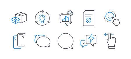 Set of Technology icons, such as Smartphone, Idea, Delete file, Smile, Lightning bolt, Talk bubble, Statistics timer, Speech bubble, Packing boxes, Touchscreen gesture line icons. Vector Ilustração