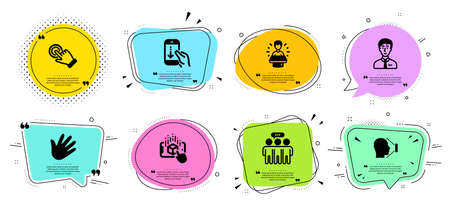 Employees group, Businessman person and Scroll down line icons set. Chat bubbles with quotes. Brand ambassador, Augmented reality and Face id signs. Hand, Touchscreen gesture symbols. Vector Çizim