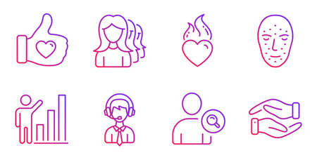 Like hand, Shipping support and Women headhunting line icons set. Face biometrics, Heart flame and Graph chart signs. Find user, Helping hand symbols. Thumbs up, Delivery manager. People set. Vector  イラスト・ベクター素材