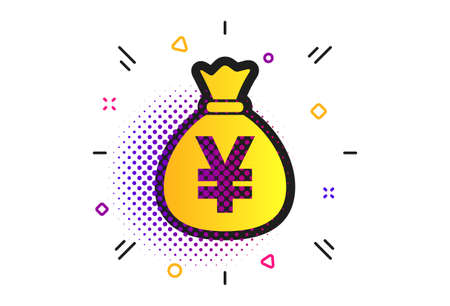 Money bag sign icon. Halftone dots pattern. Yen JPY currency symbol. Classic flat money icon. Vector