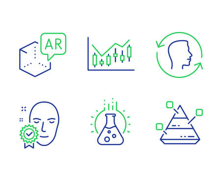 Face id, Financial diagram and Chemistry lab line icons set. Augmented reality, Face verified and Pyramid chart signs. Identification system, Candlestick chart, Laboratory. Virtual reality. Vector