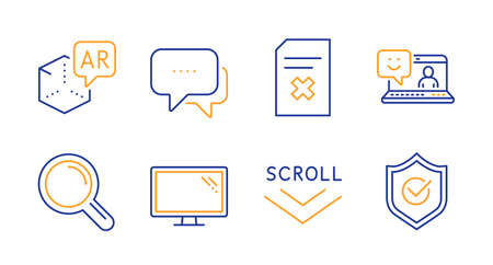 Scroll down, Monitor and Message line icons set. Augmented reality, Delete file and Research signs. Smile, Approved shield symbols. Swipe screen, Computer component. Technology set. Vector Ilustrace