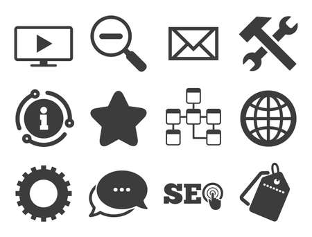 Repair, database and star signs. Discount offer tag, chat, info icon. Internet, seo icons. Mail, settings and monitoring symbols. Classic style signs set. Vector