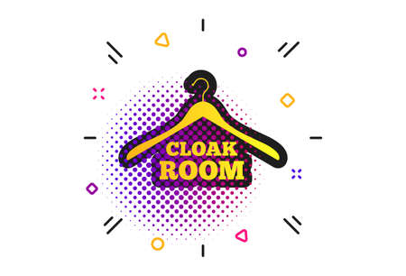 Cloakroom sign icon. Halftone dots pattern. Hanger wardrobe symbol. Classic flat cloakroom icon. Vector