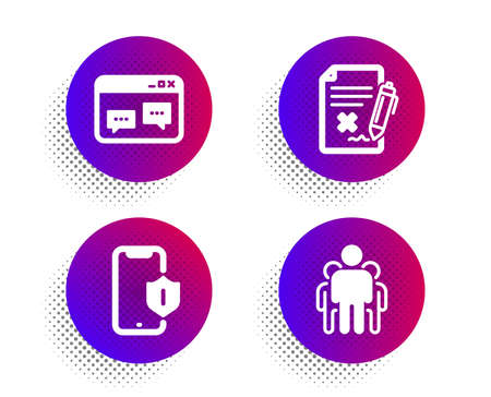 Reject file, Browser window and Smartphone protection icons simple set. Halftone dots button. Group sign. Decline agreement, Website chat, Phone. Managers. Technology set. Vector