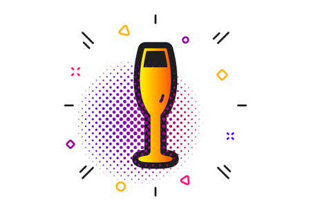 Wine glass sign. Halftone circles pattern. Champagne glass icon. Classic flat champagne glass icon. Vector