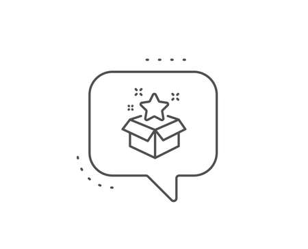 Loyalty program line icon. Chat bubble design. Bonus points. Discount box symbol. Outline concept. Thin line loyalty program icon. Vector Ilustrace
