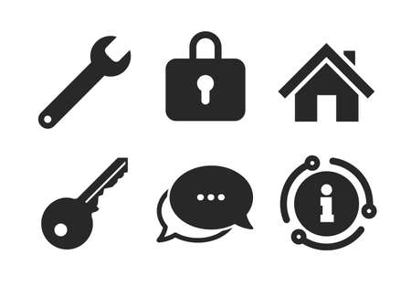 Wrench service tool symbol. Chat, info sign. Home key icon. Locker sign. Main page web navigation. Classic style speech bubble icon. Vector