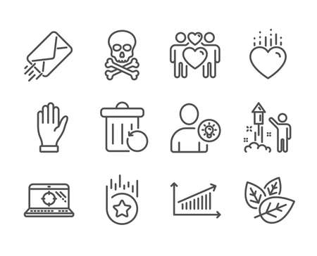 Set of Business icons, such as E-mail, Hand, Chemical hazard, Chart, User idea, Love couple, Recovery trash, Seo laptop, Organic tested, Heart, Fireworks, Loyalty star line icons. E-mail icon. Vector