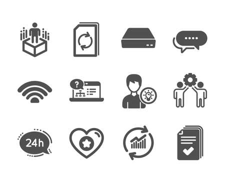 Set of Technology icons, such as Employees teamwork, 24h service, Mini pc, Handout, Person idea, Augmented reality, Wifi, Online help, Heart, Dots message, Update data, Update document. Vector