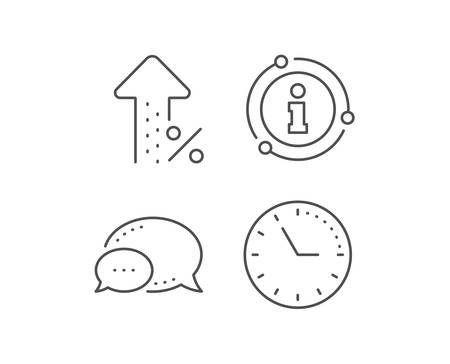 Increasing percent line icon. Chat bubble, info sign elements. Discount sign. Credit percentage growing symbol. Linear increasing percent outline icon. Information bubble. Vector