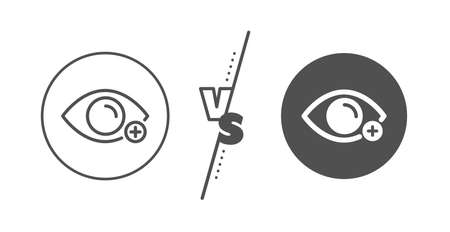Eye diopter sign. Versus concept. Farsightedness line icon. Optometry vision symbol. Line vs classic farsightedness icon. Vector