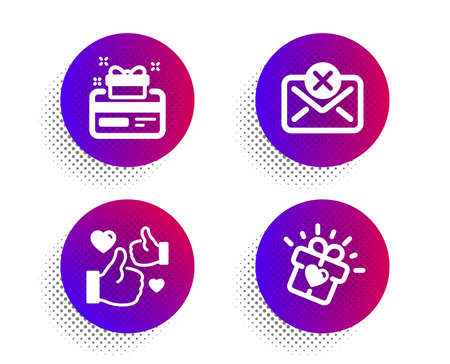 Reject mail, Like and Loyalty card icons simple set. Halftone dots button. Love gift sign. Delete letter, Thumbs up, Bonus points. Heart present. Business set. Classic flat reject mail icon. Vector Ilustração