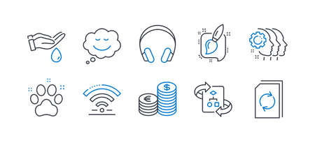 Set of Business icons, such as Wash hands, Technical algorithm, Pet friendly, Wifi, Painting brush, Headphones, Speech bubble, Employees teamwork, Currency, Update document line icons. Vector