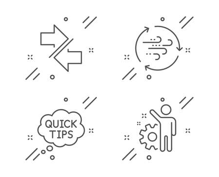 Wind energy, Quick tips and Synchronize line icons set. Employee sign. Breeze power, Helpful tricks, Communication arrows. Cogwheel. Technology set. Line wind energy outline icon. Vector