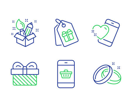 Heart, Smartphone buying and Coupons line icons set. Gift, Creativity and Wedding rings signs. Love call, Website shopping, Shopping tags. Present. Holidays set. Line heart outline icons. Vector Illustration