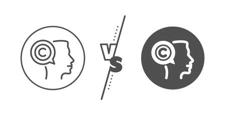 Writer person sign. Versus concept. Copyrighter line icon. Copywriting symbol. Line vs classic writer icon. Vector Illusztráció
