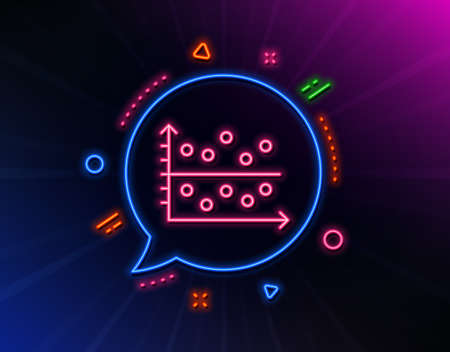 Dot plot graph line icon. Neon laser lights. Presentation chart sign. Market analytics symbol. Glow laser speech bubble. Neon lights chat bubble. Banner badge with dot plot icon. Vector