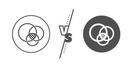 Eulerian circles sign. Versus concept. Euler diagram line icon. Relationships chart symbol. Line vs classic euler diagram icon. Vector