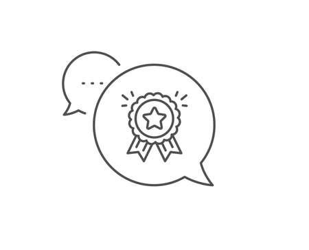 Loyalty award line icon. Chat bubble design. Bonus points. Discount program symbol. Outline concept. Thin line loyalty award icon. Vector