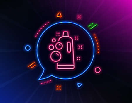 Clean bubbles line icon. Neon laser lights. Laundry shampoo sign. Clothing cleaner symbol. Glow laser speech bubble. Neon lights chat bubble. Banner badge with clean bubbles icon. Vector Illustration