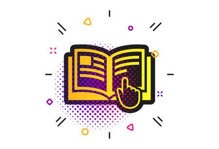 Icono de signo de instrucción. Patrón de puntos de semitono. Símbolo de libro manual. Leer antes de usar. Icono de instrucción plano clásico. Vector