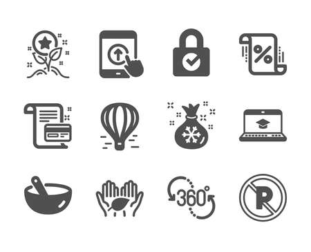 Set of Business icons, such as Loyalty points, No parking, Loan percent, Santa sack, Payment card, Swipe up, Website education, 360 degree, Fair trade, Air balloon, Cooking mix. Vector Standard-Bild - 131048007