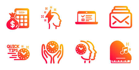 Quick tips, Time management and Brainstorming line icons set. Web lectures, Finance calculator and Safe time signs. Mail, Piano symbols. Helpful tricks, Teamwork clock. Education set. Vector