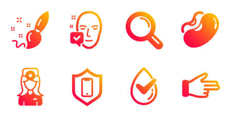 Smartphone protection, Research and Paint brush line icons set. Beans, Face accepted and Dermatologically tested signs. Oculist doctor, Click hand symbols. Phone, Magnifying glass. Vector Illustration