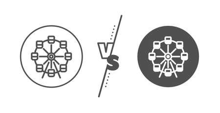 Amusement park sign. Versus concept. Ferris wheel line icon. Carousels symbol. Line vs classic ferris wheel icon. Vector 일러스트