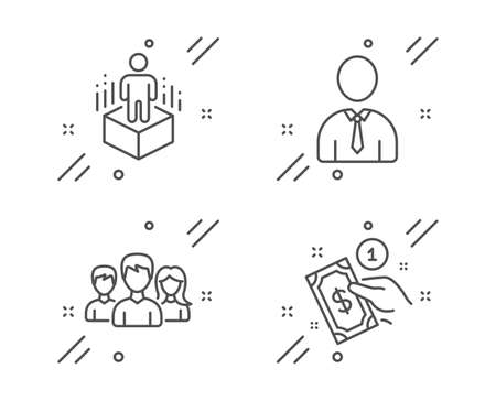 Teamwork, Human and Augmented reality line icons set. Payment method sign. Group of users, Person profile, Virtual reality. Give money. People set. Line teamwork outline icon. Vector