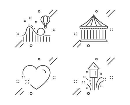 Roller coaster, Heart and Carousels line icons set. Fireworks sign. Attraction park, Love, Christmas pyrotechnic. Holidays set. Line roller coaster outline icon. Vector  イラスト・ベクター素材
