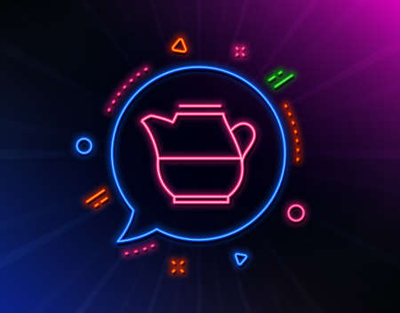 Milk jug for coffee icon. Neon laser lights. Fresh drink sign. Beverage symbol. Glow laser speech bubble. Neon lights chat bubble. Banner badge with milk jug icon. Vector