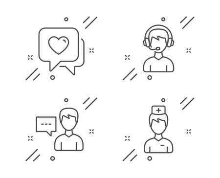 Heart, Person talk and Consultant line icons set. Doctor sign. Love chat, Communication message, Call center. Medicine person. People set. Line heart outline icon. Vector